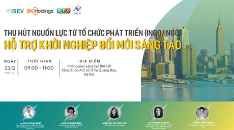 """Hội thảo """"Thu hút nguồn lực từ tổ chức phát triển(INGO/NGO) - Hỗ trợ khởi nghiệp đổi mới sáng tạo"""""""